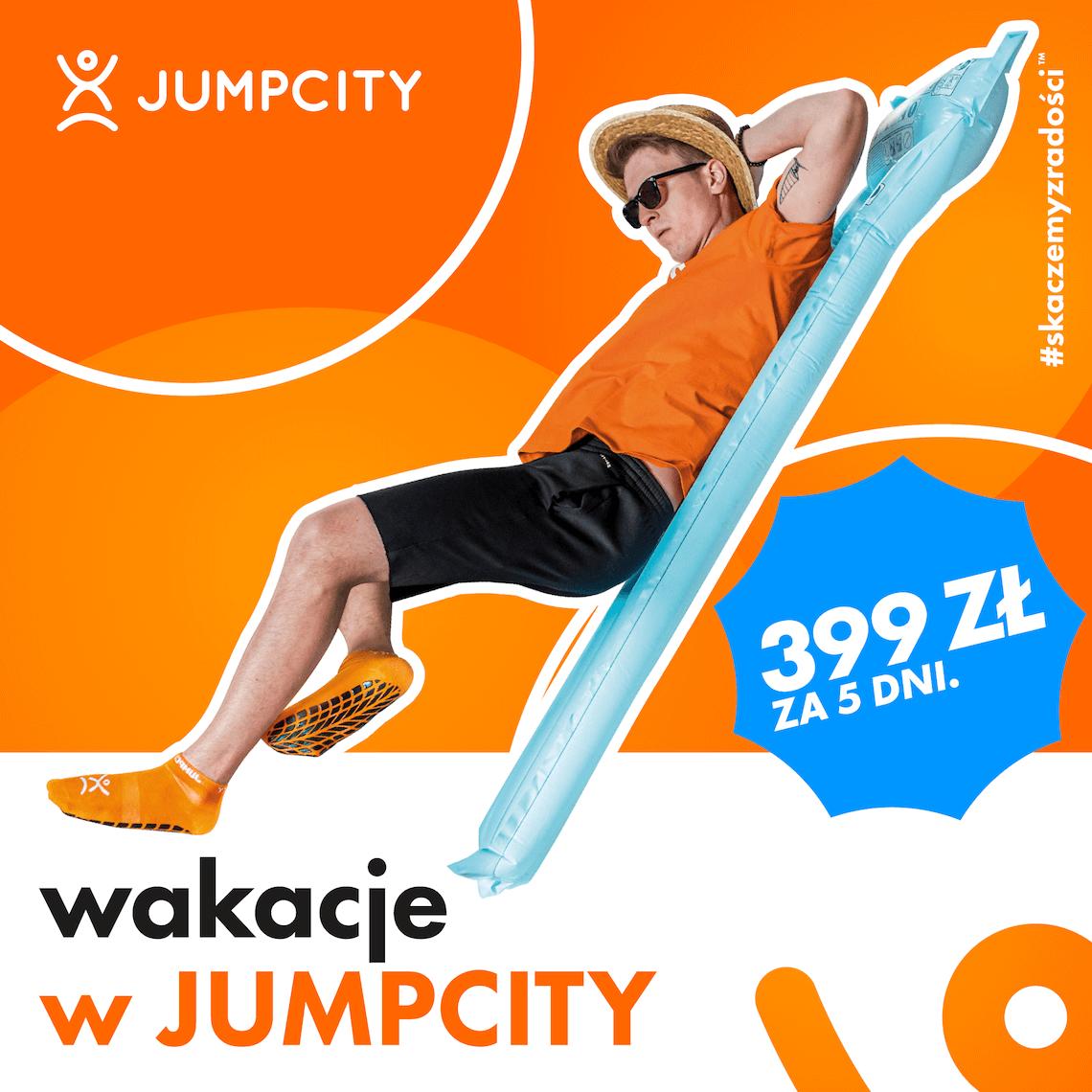 Baner reklamowy Jumpcity informujący, że w wakacje w JumpCity tylko 399zł za 5 dni.